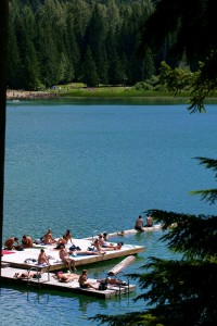 Lost Lake, Whistler Mountain, clothing optional dock