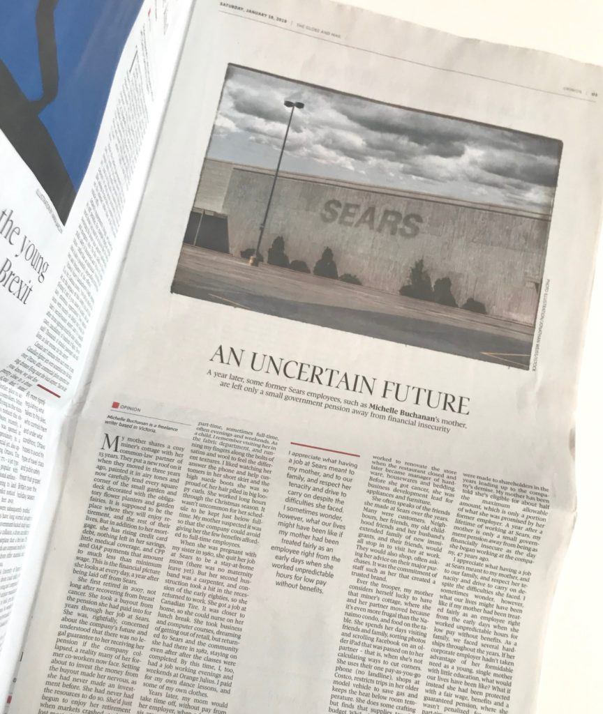 Photo of Michelle Buchanan's full-page article appearing on page 3 of the Opinion section of The Globe and Mail January 19, 2019. The article includes a photo of an deteriorating Sears department store with an empty parking lot.